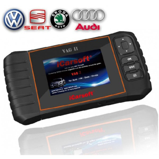 iCarsoft VAG II gyári szintű VW AUDI SEAT SKODA diagnosztikai OBD 1 OBD 2 műszer szerviz funkciókkal